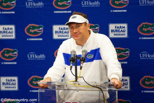 University of Florida head football coach Dan Mullen addresses the media after the Florida Gators' 24-17 loss to Georgia- Florida Gators football- 1280x853