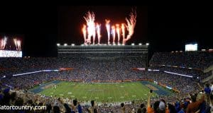 Fireworks light up the sky after the Florida Gators score a touchdown against Florida State- Florida Gators football- 1280x620