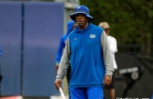 Florida Gators defensive line coach David Turner watches the Gators practice- 1280x855