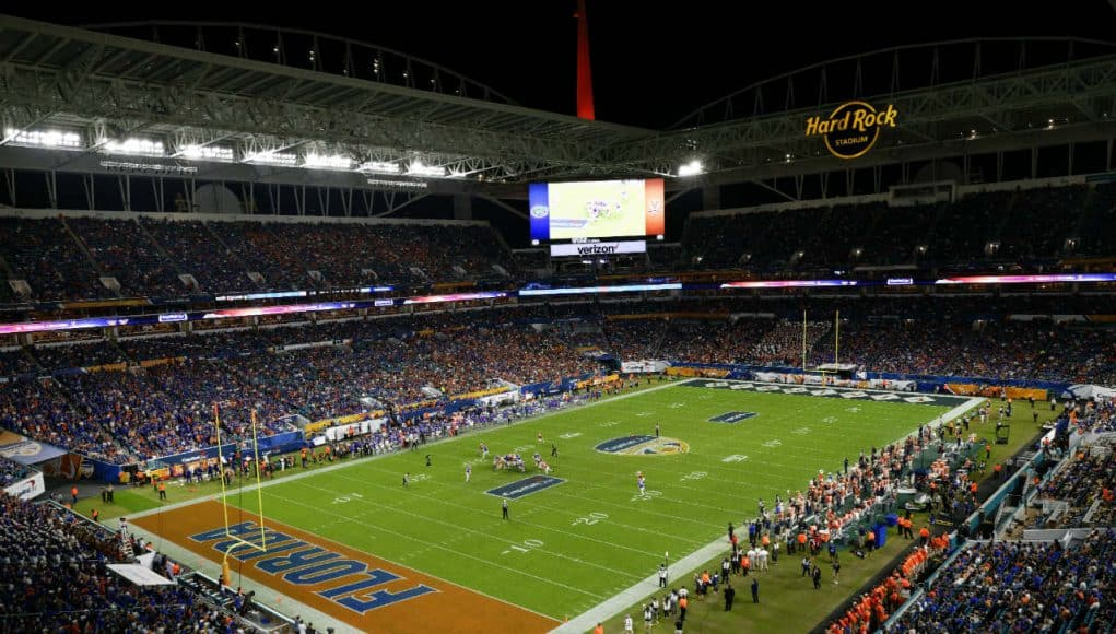 The view in Miami as the Florida Gators and Virginia Cavaliers play in the 2019 Capital One Orange Bowl- Florida Gators football- 1280x853