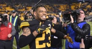 Dec 16, 2018; Pittsburgh, PA, USA; Pittsburgh Steelers cornerback Joe Haden (23) celebrates a win against the New England Patriots at Heinz Field. Mandatory Credit: Philip G. Pavely-USA TODAY Sports