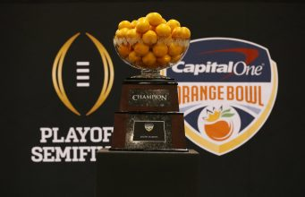 Jan 9, 2016; Phoenix, AZ, USA; A general view of the Orange Bowl trophy at media day at Phoenix Convention Center. Mandatory Credit: Matthew Emmons-USA TODAY Sports
