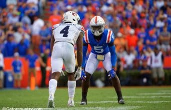 University of Florida cornerback Kaiir Elam lines up against Auburn receiver Noah Igbinoghene during the Gators' homecoming win- Florida Gators football- 1280x853