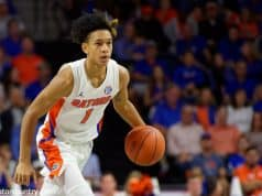 University of Florida freshman guard Tre Mann brings the ball up the court against Florida State- Florida Gators basketball- 1280x853