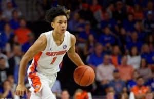 University of Florida freshman guard Tre Mann brings the ball up the court against Florida State- Florida Gators basketball- 1280x853