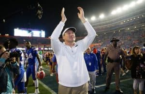University of Florida head coach Dan Mullen celebrates after the Florida Gators 40-17 win over Florida State- Florida Gatos football- 1280x853