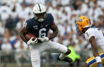 Sep 14, 2019; University Park, PA, USA; Penn State Nittany Lions wide receiver Justin Shorter (6) runs with the ball during the first quarter against the Pittsburgh Panthers at Beaver Stadium. Mandatory Credit: Matthew O'Haren-USA TODAY Sports