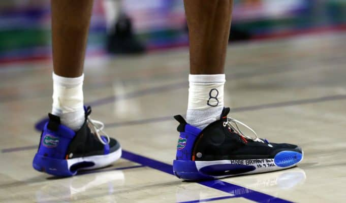 Jan 28, 2020; Gainesville, Florida, USA;A detail view of Florida Gators guard Scottie Lewis (23) sneakers in remembrance of Los Angeles former player Kobe Bryant against the Mississippi State Bulldogs during the first half at Exactech Arena. Mandatory Credit: Kim Klement-USA TODAY Sports