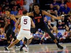 University of Florida freshman forward Omar Payne plays defense in a 69-47 win over No. 4 Auburn- Florida Gators basketball- 1280x853