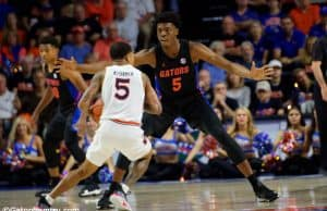 University of Florida freshman forward Omar Payne plays defense in a 69-47 win over No. 4 Auburn- Florida Gators basketball- 1280x853