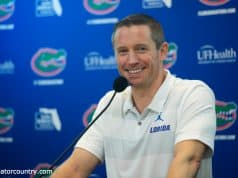 University of Florida head basketball coach Mike White at Florida Gators Basketball media day in 2018- Florida Gators football- 1280x853