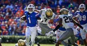 University of Florida receiver Kadarius Toney runs with the ball in a shutout win over Vanderbilt- Florida Gators football- 1280x853