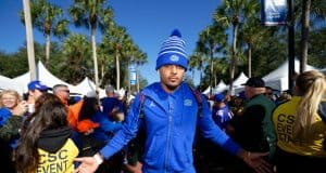 University of Florida receiver Trevon Grimes greets fans during Gator Walk before the Florida Gators game against Vanderbilt- Florida Gators football- 1280x853