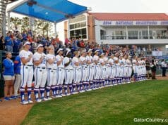 Florida Gators Softball lines before their game against Team USA- 1280x852