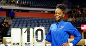 Florida Gators gymnast Trinity Thomas after she scored a 10 for the Gators- 1280x852