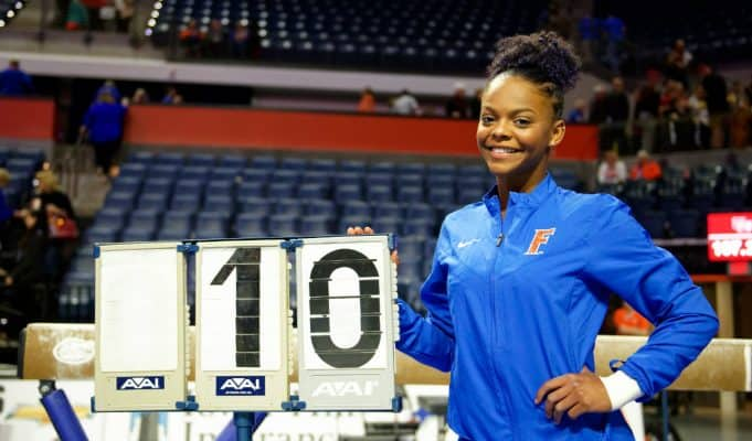 Florida Gators gymnast Trinity Thomas after she scored a 10 for the Gators- 1280x852