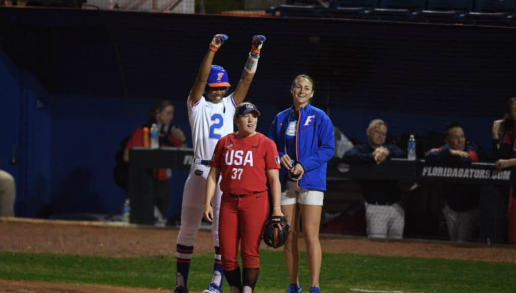 Florida Gators utility player Cheyenne Lindsey gets a hit against Team USA- 1280x855