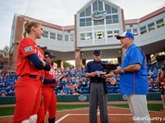 Former Florida Gators catcher Aubree Munro and Tim Walton before Team USA vs Florida- 1280x852