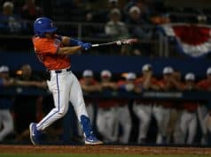 University of Florida freshman infielder Isaac Nunez singles in the bottom of the tenth to beat Jacksonville- Florida Gators baseball- 120x853