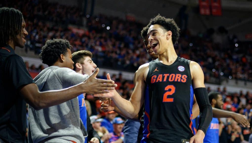 University of Florida guard Andrew Nembhard celebrates the Florida Gators win over No. 5 Auburn- Florida Gators basketball- 1280x852