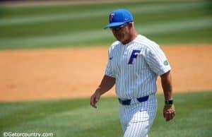 University of Florida head baseball coach Kevin O'Sullivan walks back to the dugout after a mound meeting against Kentucky- Florida Gators baseball- 1280x853
