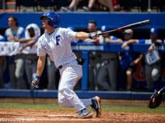 University of Florida outfielder Jacob Young swings away in a SEC game against Kentucky- Florida Gators baseball- 1280x853