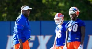 University of Florida tight ends coach Larry Scott works with his position group during spring practice- Florida Gators football- 1280x853