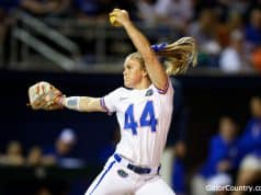 Florida Gators softball pitcher Rylee Trlicek pitches in 2020- 1280x853