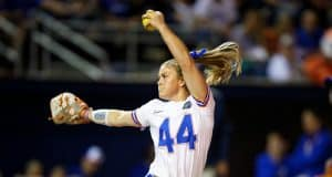 Florida Gators softball pitcher Rylee Trlicek pitches in 2020- 1280x853