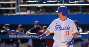 University of Florida catcher Nathan Hickey gets ready to hit during a 7-1 win over Troy- Florida Gators baseball- 1280x853