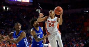 University of Florida center Kerry Blackshear goes up for a layup in his final home game with the Florida Gators- Florida Gators basketball- 1280x853