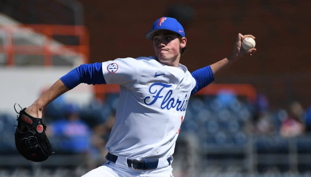 University of Florida freshman Hunter Barco pitching against Troy- Florida Gators baseball- 1280x851