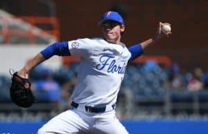University of Florida freshman Hunter Barco pitching against Troy- Florida Gators baseball- 1280x851