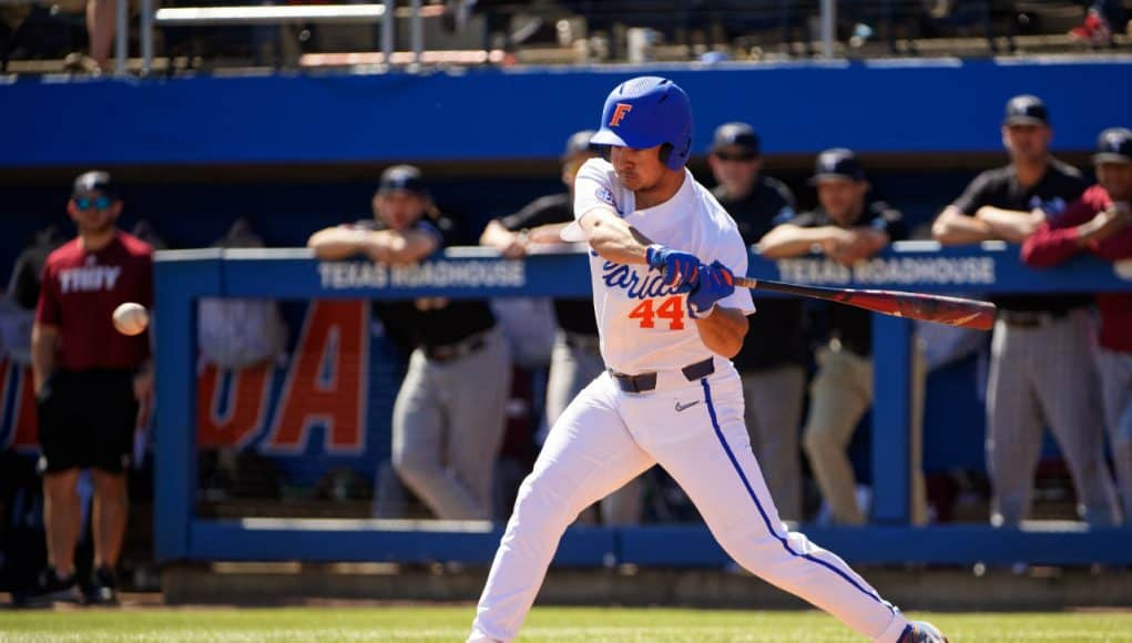 University of Florida outfielder Austin Langworthy singles during the Florida Gators' sweep of the Troy Trojans- Florida Gators baseball- 1280x853