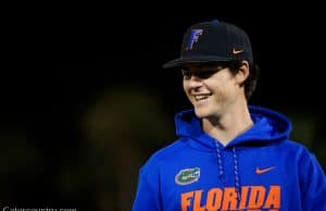 University of Florida pitcher Tommy Mace walks off the field after the Florida Gators win over Long Beach State in 2019- Florida Gators baseball- 1280x853