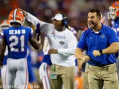 University of Florida strength and conditioning coordinator Nick Savage celebrates on the sidelines during the Florida Gators win over Miami- Florida Gators football- 1280x853