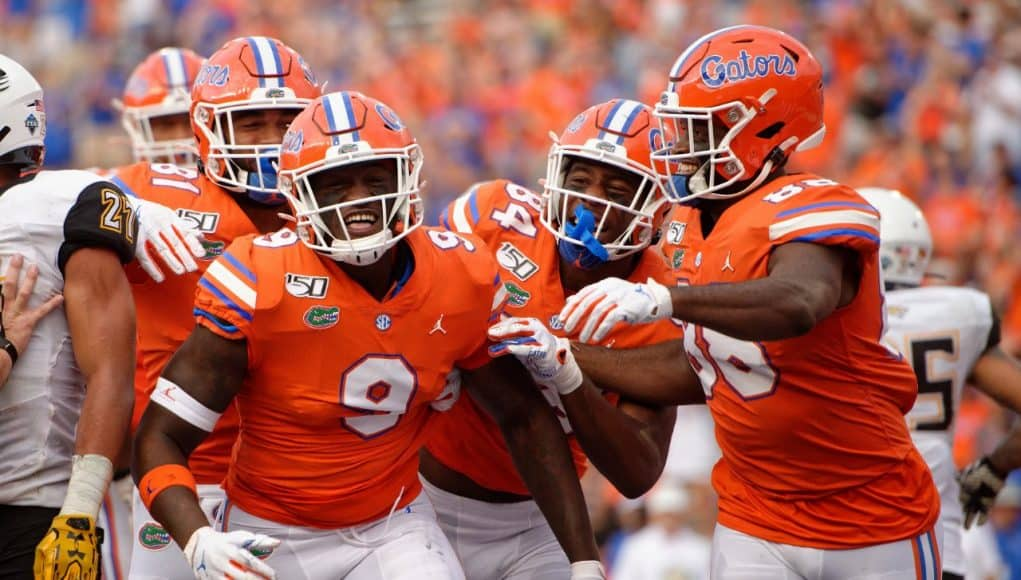 University off Florida tight end Keon Zipperer celebrates after his first career touchdown against Towson- Florida Gators football- 1280x852