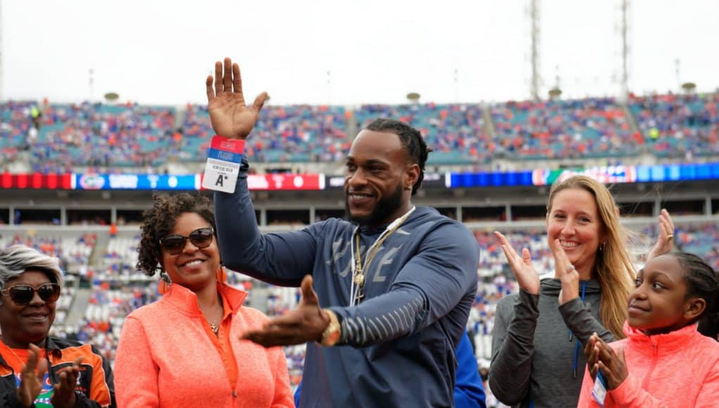 Former University of Florida receiver Percy Harvin is inducted into the Florida-Georgia Hall of Fame in 2018- Florida Gators football- 1280x852