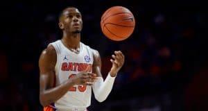University of Florida freshman guard Scottie Lewis shooting free throws against Kentucky in 2020- Florida Gators basketball- 1280x853
