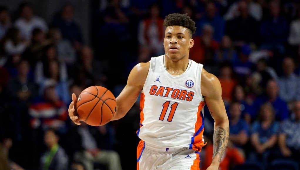 University of Florida sophomore forward Keyontae Johnson brings the ball up the court against Vanderbilt- Florida Gators basketball- 1280x853