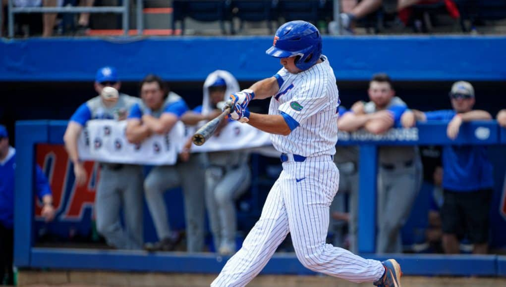 Florida Gators outfielder Austin Langworthy hits a 2-run triple against the Kentucky Wildcats- Florida Gators baseball- 1280x853