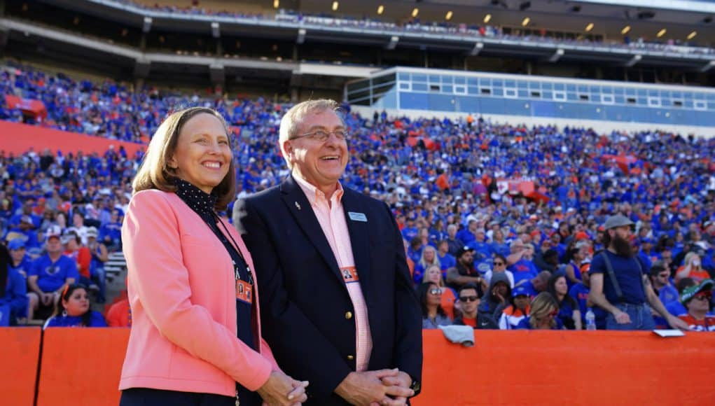 University of Florida President Dr. Kent Fuchs and his wife Linda watch the Florida Gators win over Idaho- Florida Gators football- 1280x884