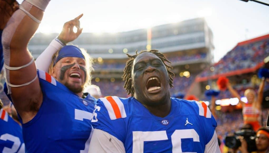 University of Florida defensive lineman TJ Slaton celebrates after the Florida Gators homecoming win over Auburn in 2019- Florida Gators football- 1280x853