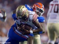 University of Florida defensive lineman Zach Carter sacks Florida State quarterback James Blackman- Florida Gators football- 1280x853