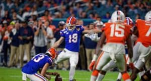 University of Florida kicker Evan McPherson connects on a field goal against Virginia in the 2020 Orange Bowl- Florida Gators football- 1280x853