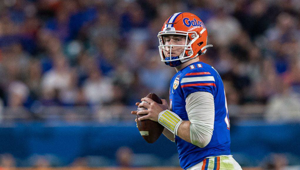 University of Florida quarterback Kyle Trask drops back to pass in the 2020 Orange Bowl against Virginia- Florida Gators football- 1280x853