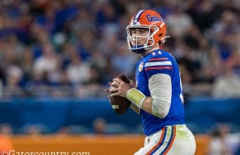 University of Florida quarterback Kyle Trask drops back to pass in the 2020 Orange Bowl against Virginia- Florida Gators football- 1280x853