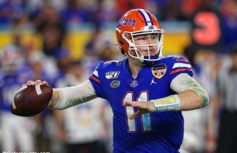 University of Florida quarterback Kyle Trask throws a pass in the Orange Bowl- Florida Gators football- 1280x853