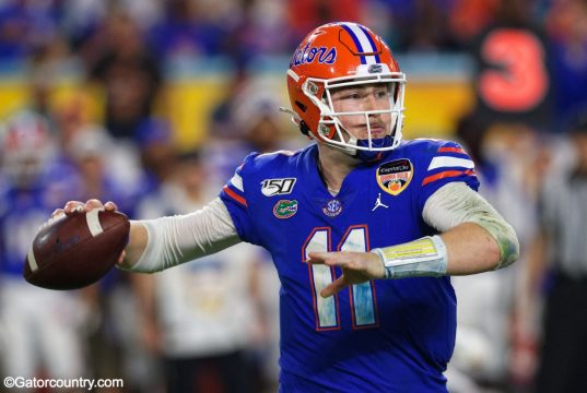 University of Florida quarterback Kyle Trask throws a pass in the Orange Bowl- Florida Gators football- 1280x853