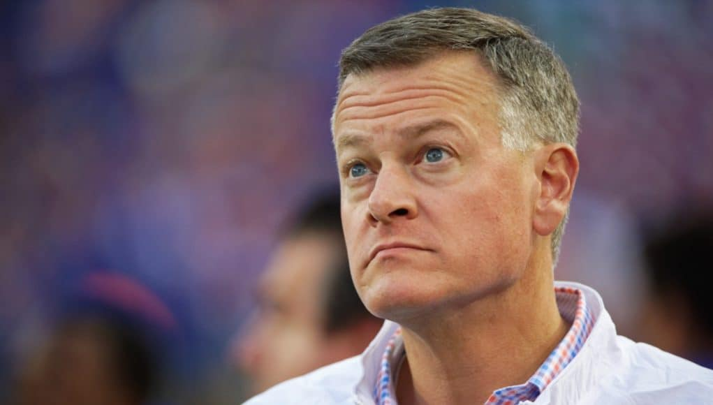 University of Florida Athletic Director Scott Stricklin watches the Florida Gators game against Georgia from the sideline- Florida Gators football- 1280x853